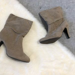 Express heeled fold over taupe booties has wear 7